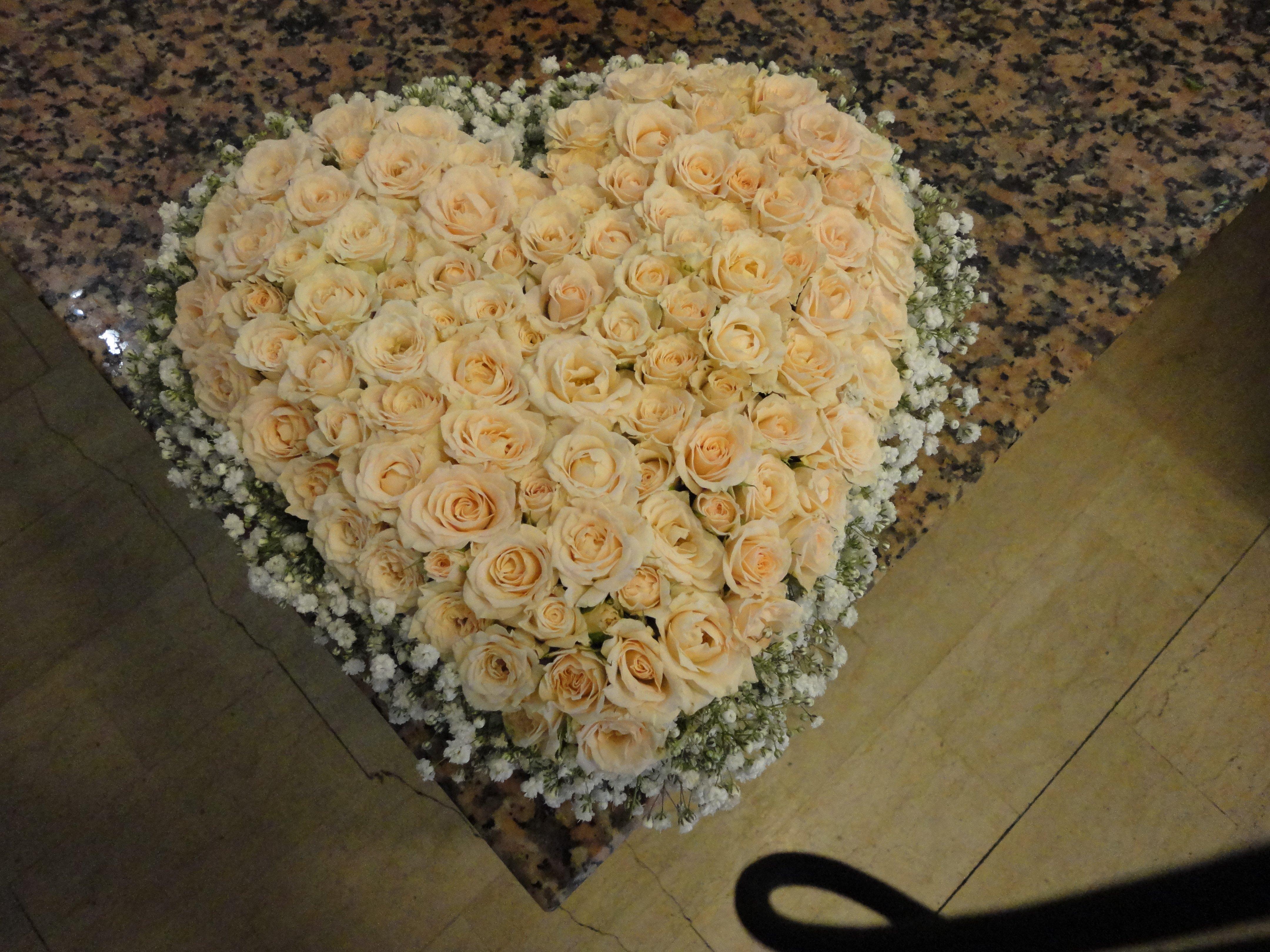 rose bianche a forma di cuore