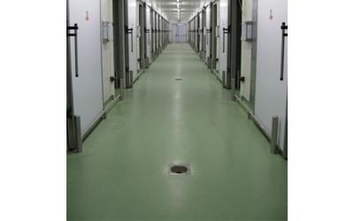 in corridoio con pavimento verde