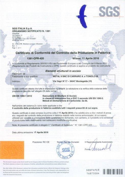 Certificazione 1090 - CE