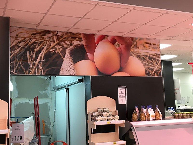 un cartellone con un'immagine una mano che prende dela uova