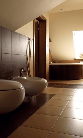 modern cream and brown bathroom