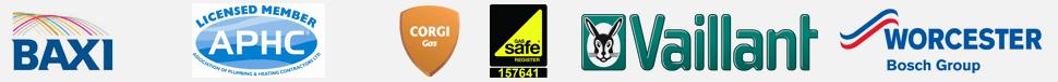 Baxi, Citb, Corgi, Gas Safe, Vaillant, and Worcester Bosch Group logos