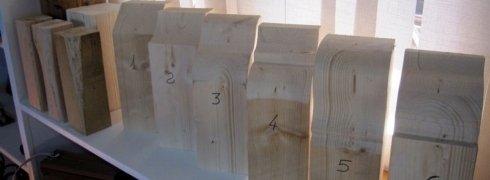 Sezioni verticali di travi in legno