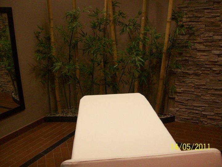 Lettino per massaggi e piante