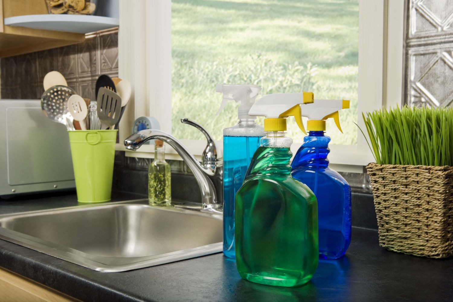 Housekeeping  products on a sink in Colfax, NC