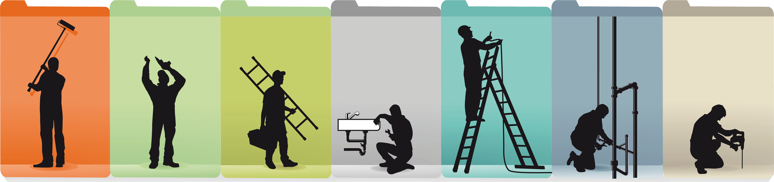 Graphics of professionals doing construction work