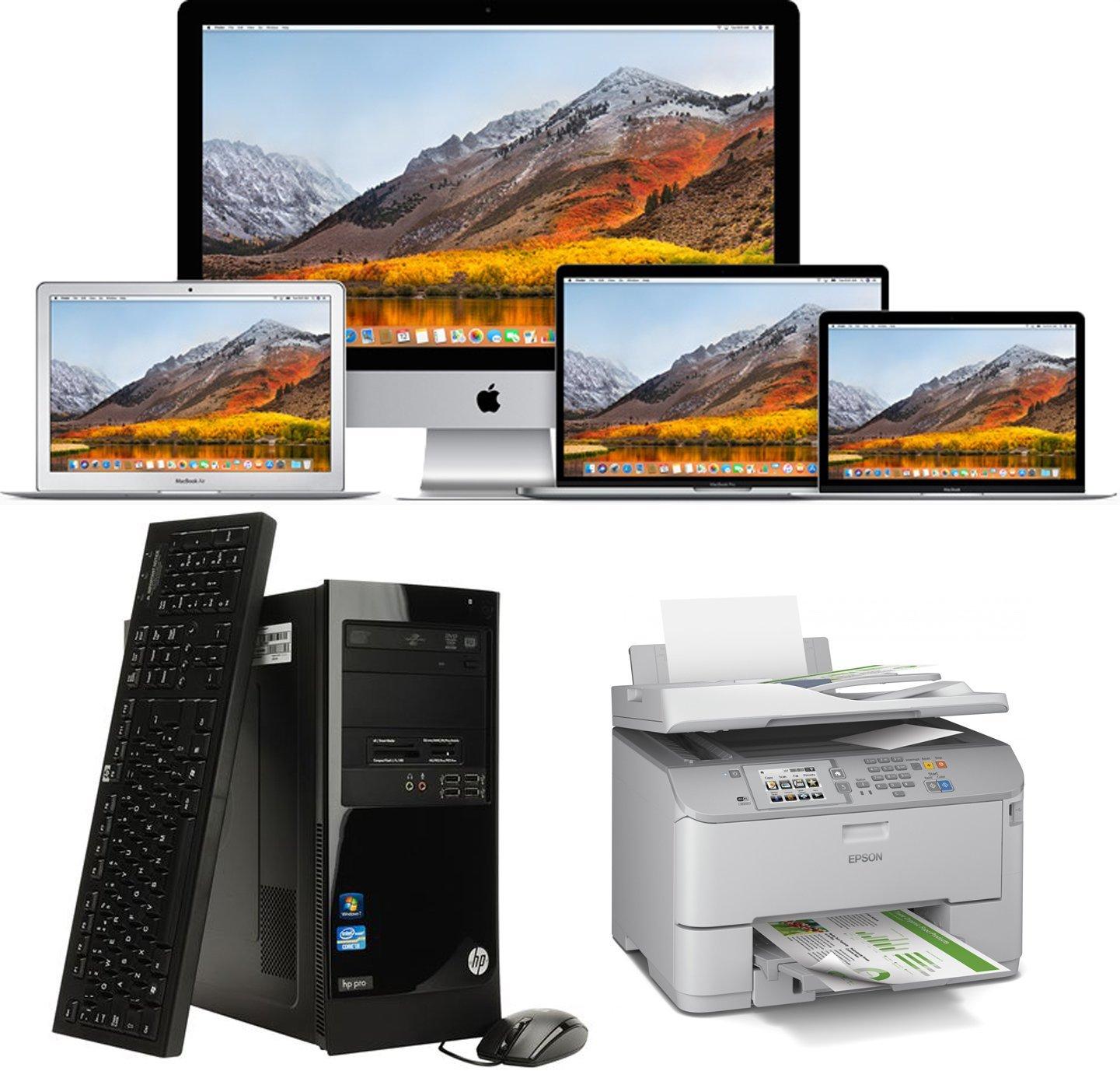 computer apple, stampante e tastiera con cpu