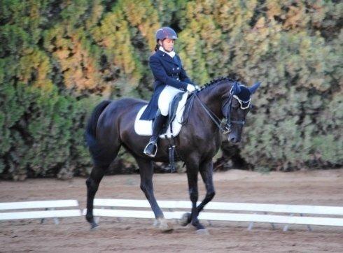 una ragazza che cavalca un cavallo marrone scuro con un copricapo