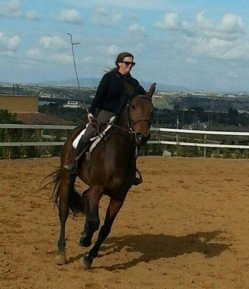 una ragazza che cavalca un cavallo marrone