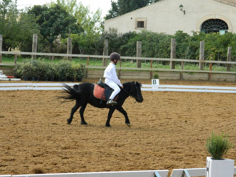 una bambina in bianco in sella ad un pony