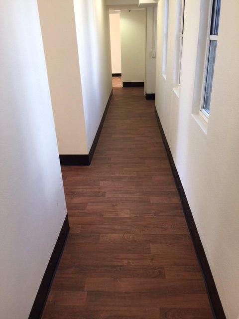 brown wooden hallway