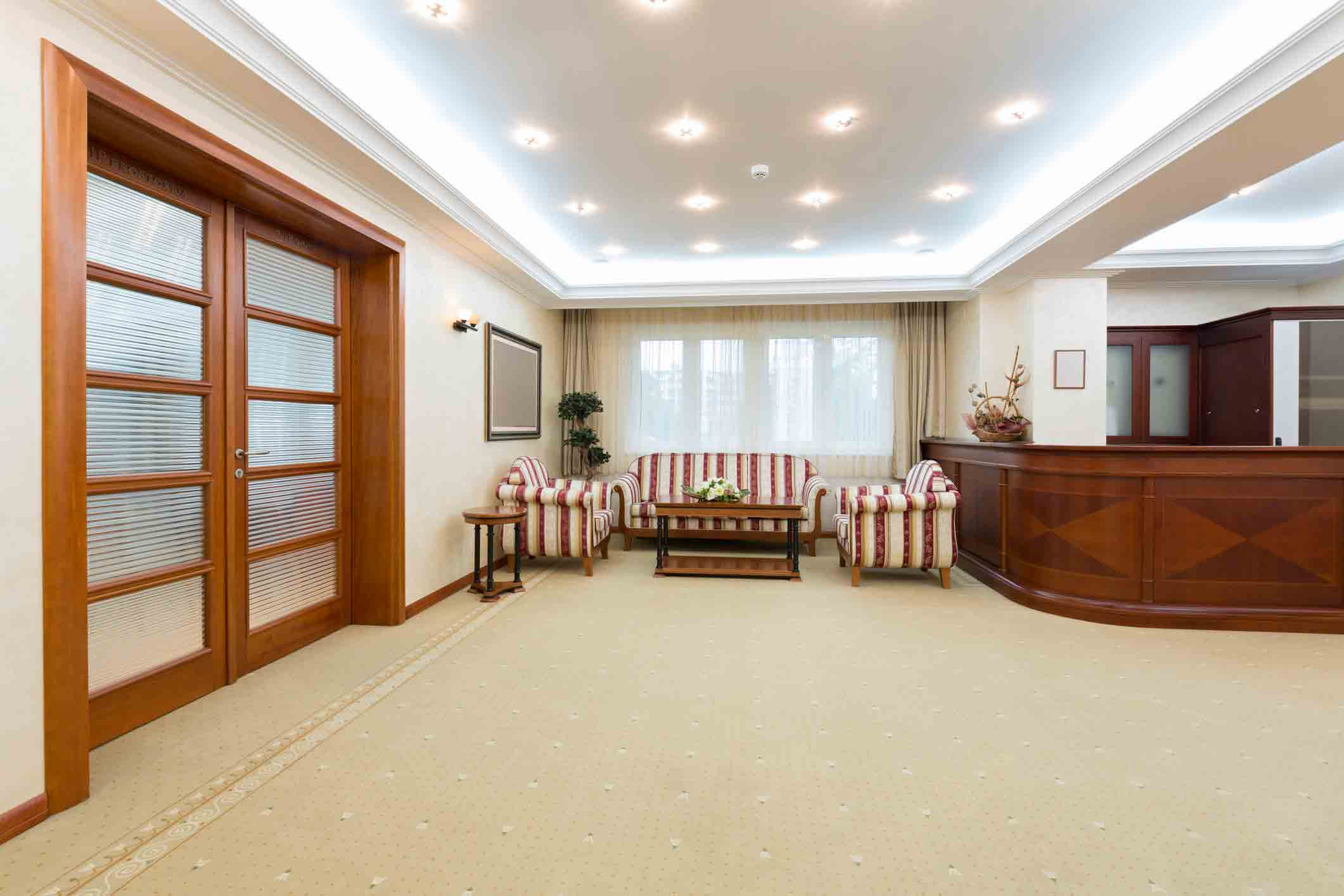 office with cream colored carpet
