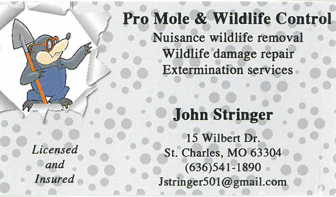 Pro Mole & Wildlife Control Business Card in St. Charles