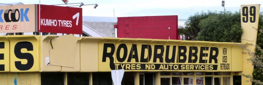 Outside our new and used tyres shop in Christchurch