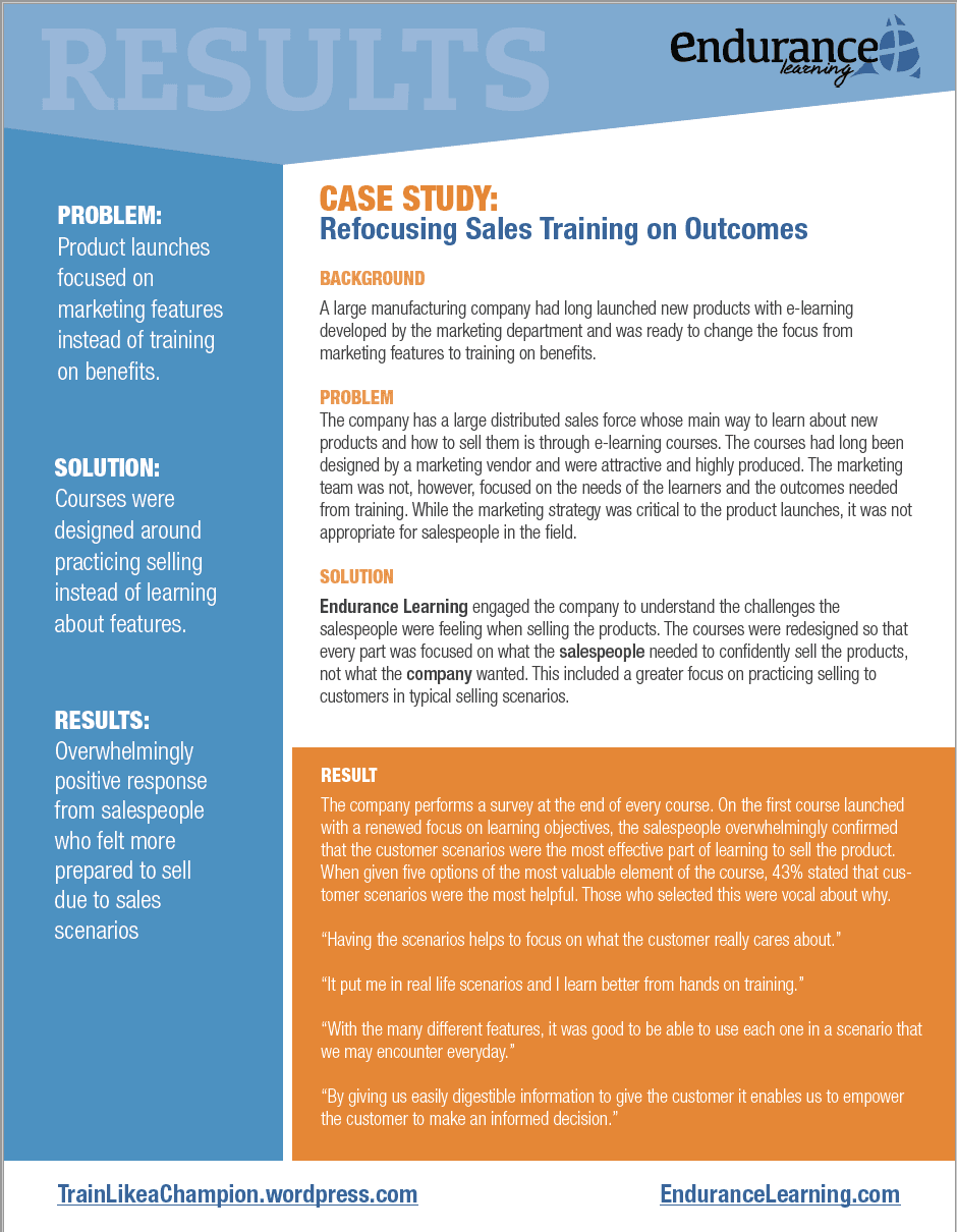 Case Study: Refocusing Sales Training on Outcomes