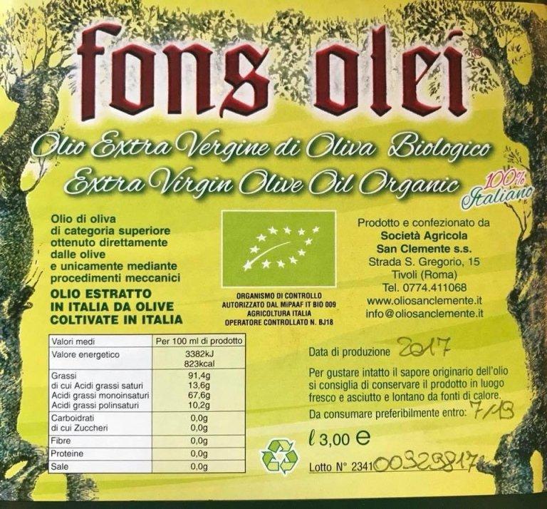 vendita olio biologico roma