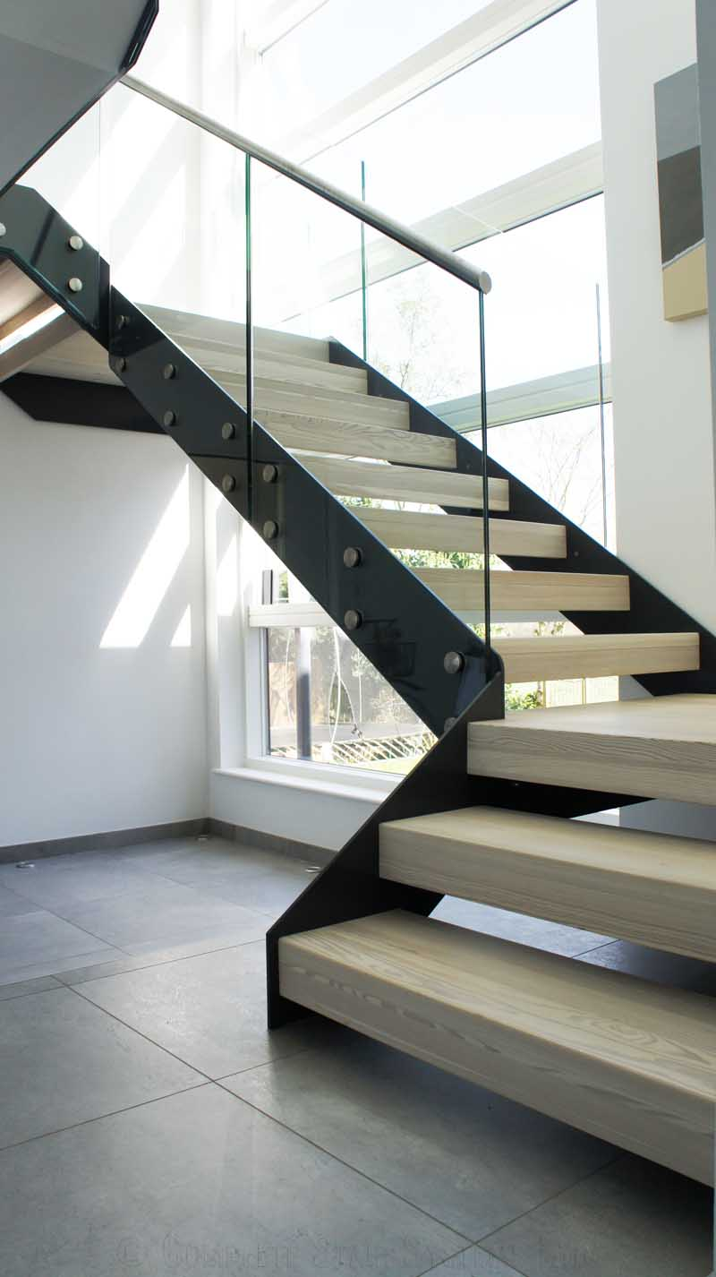 Internal Steel Staircase With Solid Pine Infill Treads And Side Fixed Glass  Balustrades In Harrogate