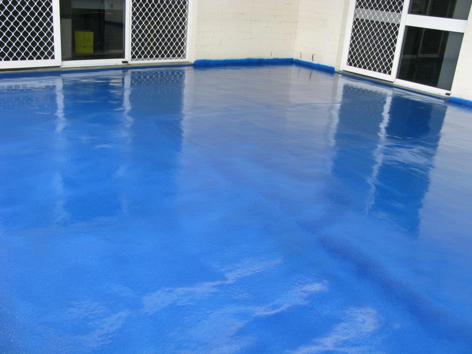 blakes waterproofing blue coated floor