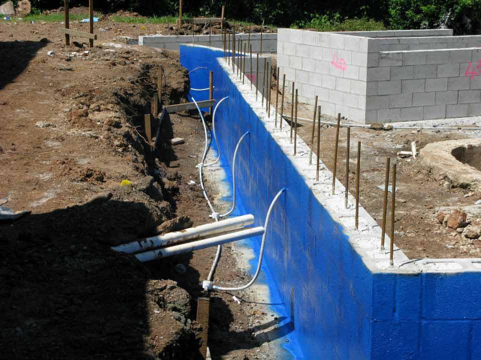 blakes waterproofing blue painted wall