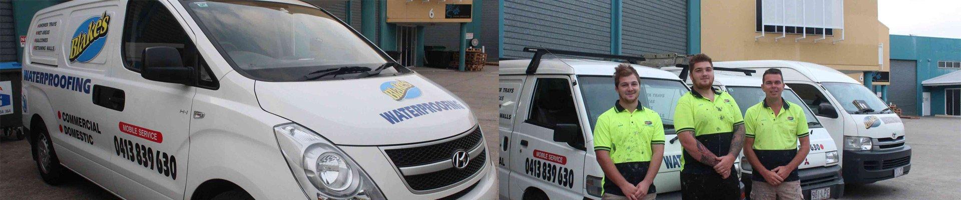 blakes waterproofing company van and workers