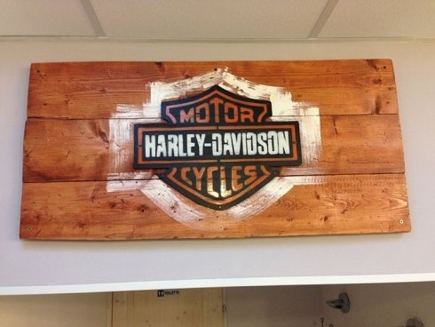 insegna in legno Harley Davidson