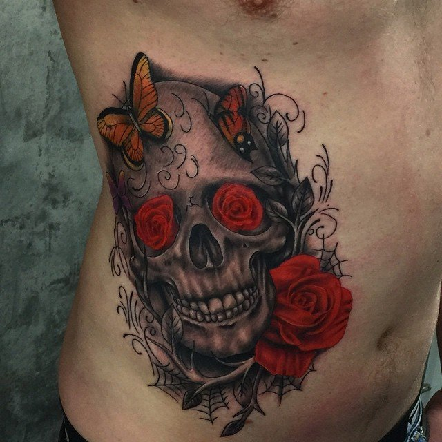 skull in monochrome tattoo