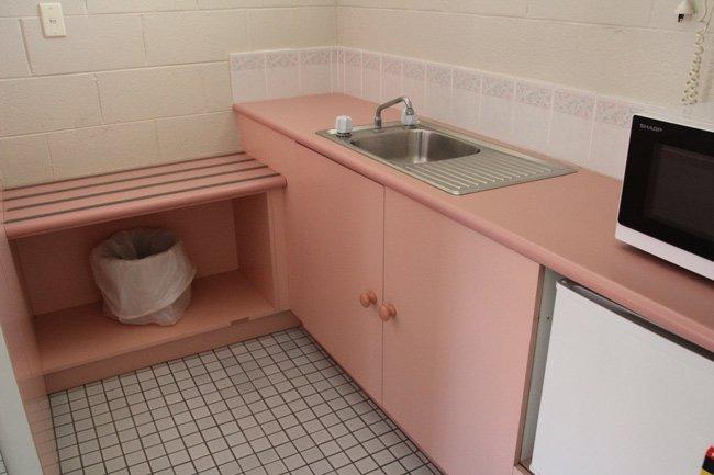 pink motel kitchenette