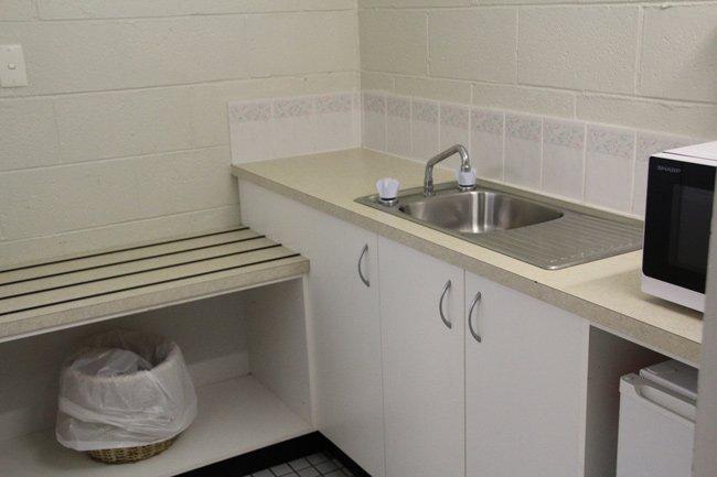 triple motel room kitchenette