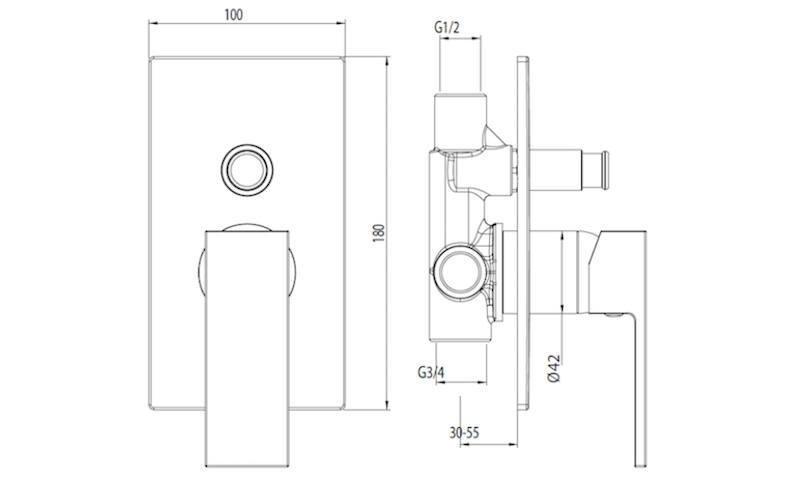 DI1002 Miscelatore monocomando doccia incasso con deviatore
