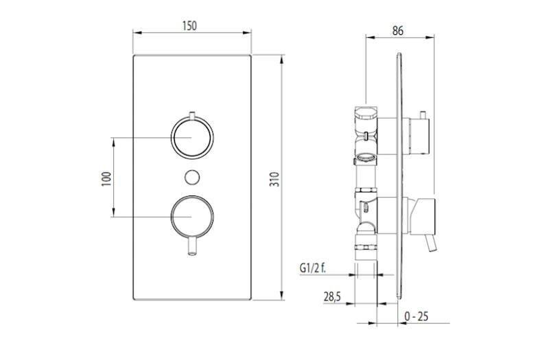DI1006 Miscelatore monocomando doccia incasso con deviatore 3 uscite