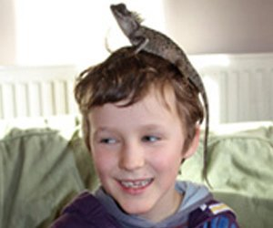 A small lizard on a child's head