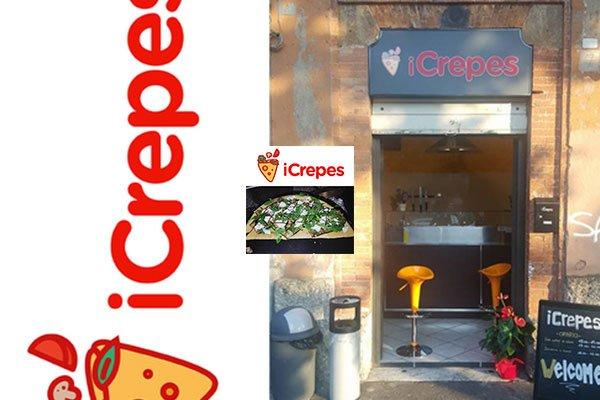 un'immagine raffigurante il negozio iCrepes e una foto di una crepes