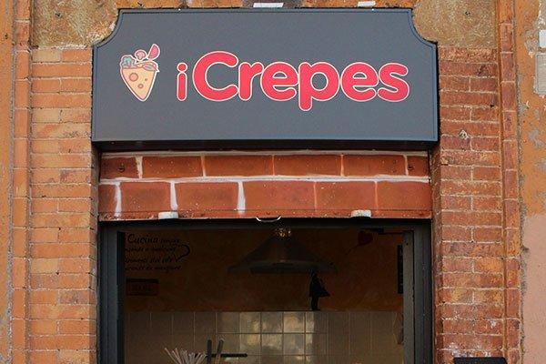l'insegna del negozio iCrepes