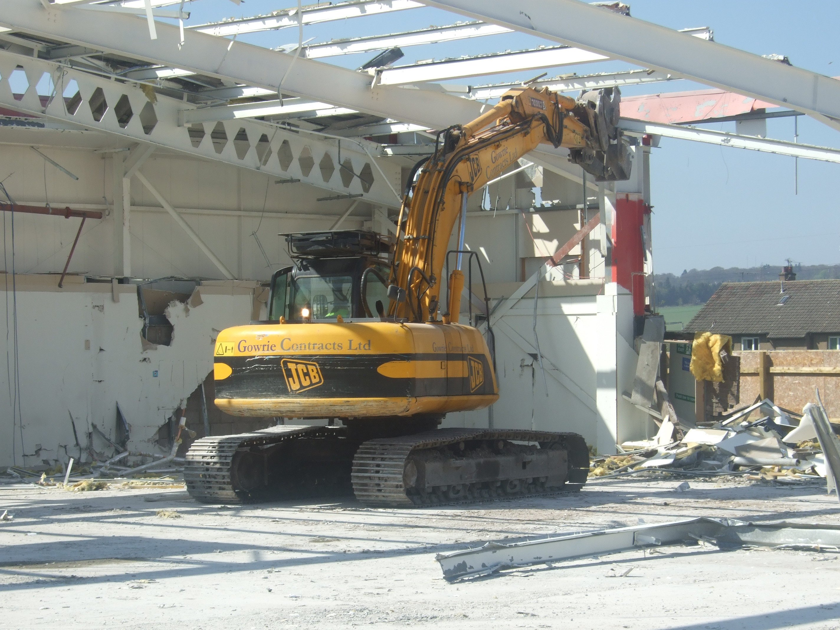 building roof being demolished