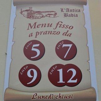menu prezzo fisso firenze