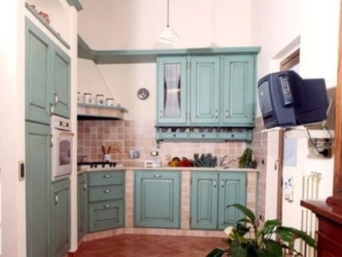 cucina celeste, cucine verdi, cucine in muratura