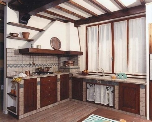 cucine a muro, cucine classiche, cucine in legno
