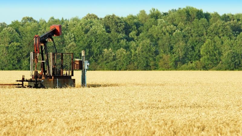 Water pump machine in corn field