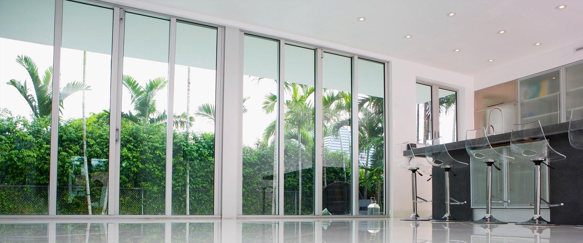 white framed doors in office
