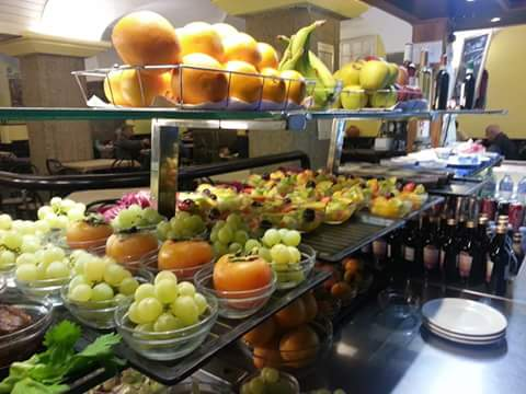 Fruit and vegetables at the self service restaurant in Genoa