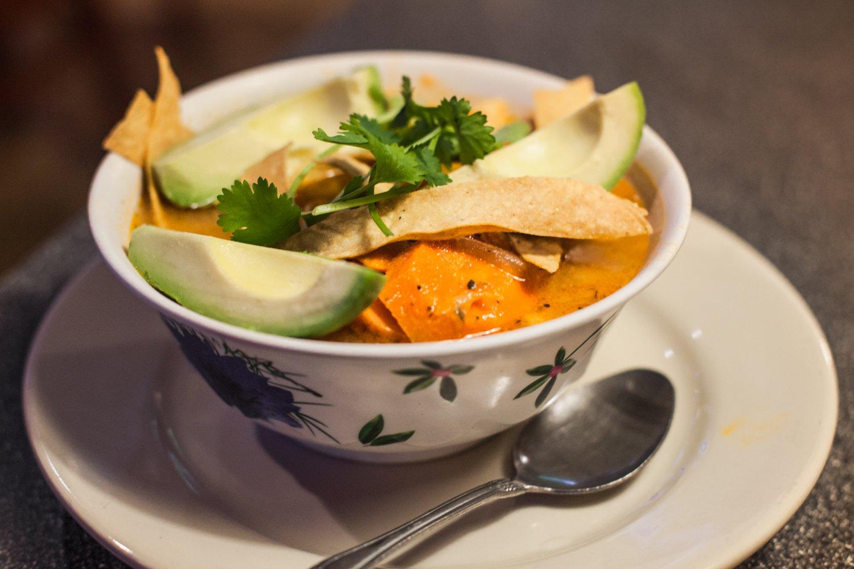 Cozumel Grill Mexican Restaurant tortilla soup with avocado and cilantro