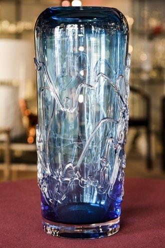 Vaso in cristallo colorato bu e azzurro