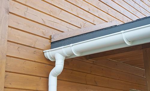 Serviced rain gutter of a house in Lexington, KY