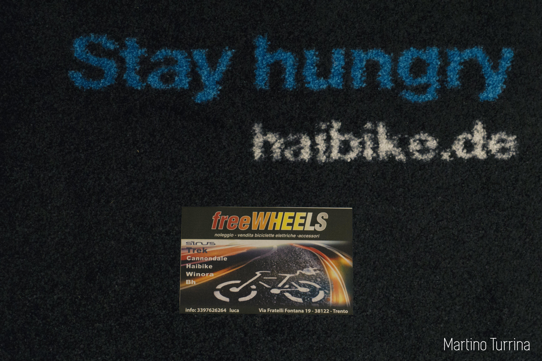 biglietto da visita su tappetino promozionale haibike.de