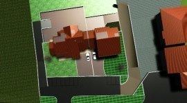 topografia, visione dall' alto, disegno edificio in totale