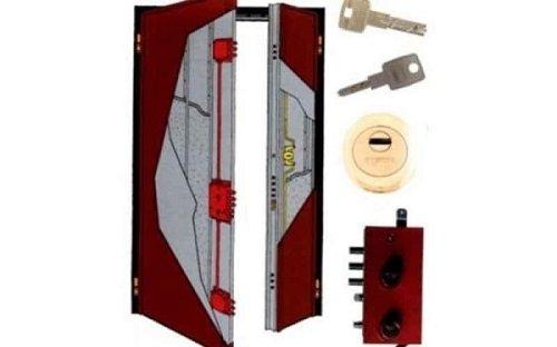 Il disegno di una porta blindata, delle chiavi e una serratura