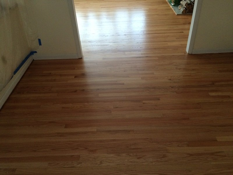 Installed wood flooring