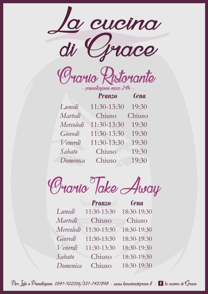 Orari d'apertura della a cucina di Grace a Novafeltria