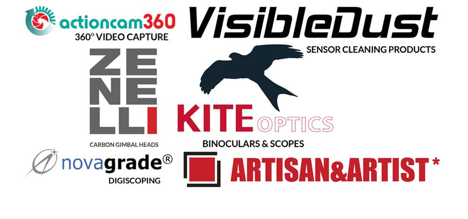 Visible Dust, Zenelli Gimbal heads, Kite Optics, Artisan and Artist, Novagrade digiscoping and Actioncam 360.