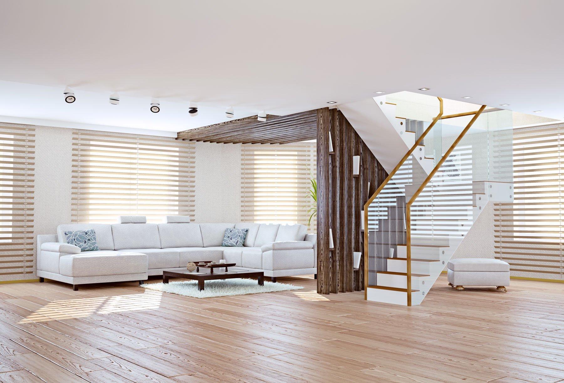 soggiorno con scala in legno